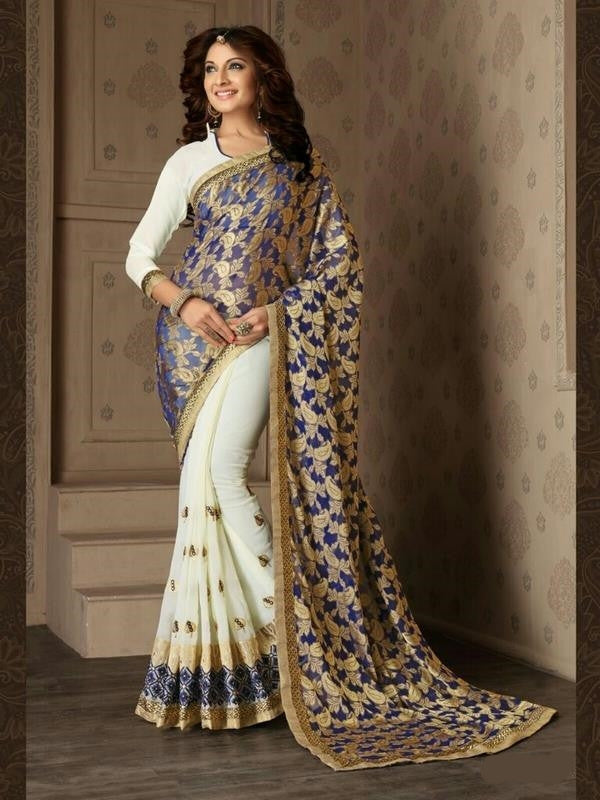 Soft Embroidered Georgette Designer Saree in Off-white and light blue