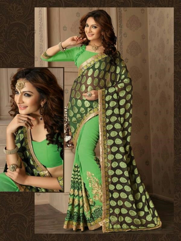 Soft Embroidered Georgette Designer Saree in Green Color