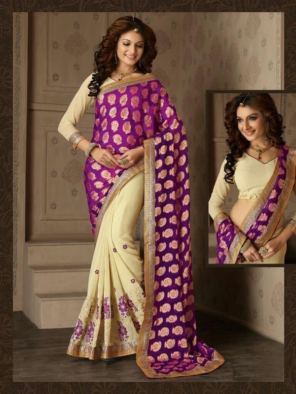 Soft Embroidered Georgette Designer Saree in Off-white and purple Color