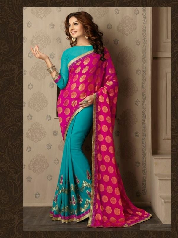 Soft Embroidered Georgette Designer Saree in Dark cyan Color
