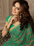 Soft Embroidered Georgette Designer Saree in lime green Color