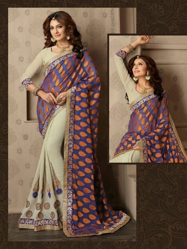 Embroidered Georgette Designer Saree in Off-white and grayish blue