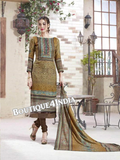 Light Brown Printed Pashmina Salwar Suit
