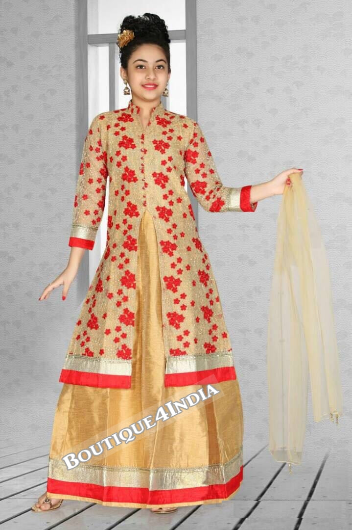 Girls Floral beige and red Latcha suit