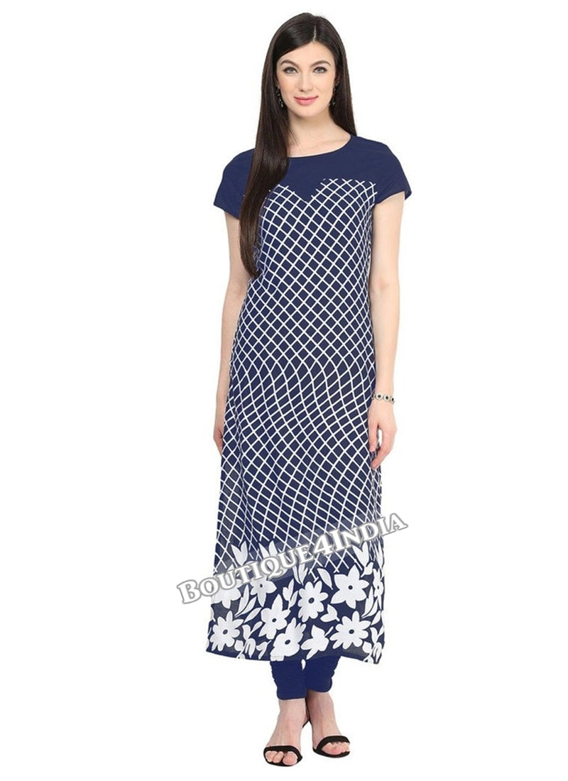 Navy Blue Crepe Casual wear Printed Kurti