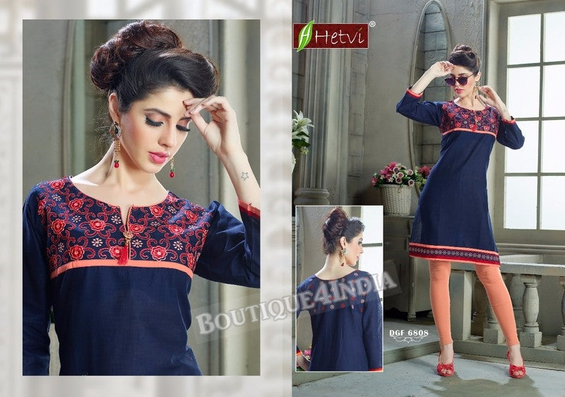 Navy Cotton 3/4 sleeves Slub Kurti
