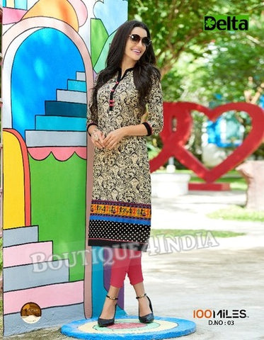 multicolor Self Design and printed Cotton Kurti