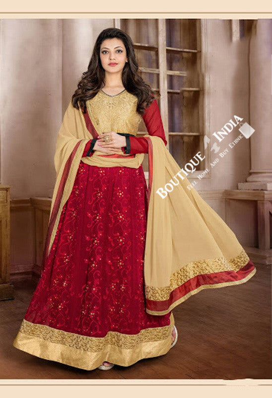 2-1 Salwar And Lehenga Heavy Work Wedding Designer Collection - Golden Yellow And Maroon Resplendent Unique Designer Wear Salwar Convertible Lehenga / Party Wear / Wedding / Special Occasions / Festivals - Semi Stitched, Blouse - Ready to Stitch - Boutique4India Inc.