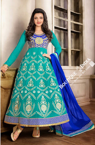 2-1 Salwar And Lehenga Heavy Work Wedding Designer Collection - Shades Of Blue Resplendent Unique Designer Wear Salwar Convertible Lehenga / Party Wear / Wedding / Special Occasions / Festivals - Semi Stitched, Blouse - Ready to Stitch - Boutique4India Inc.