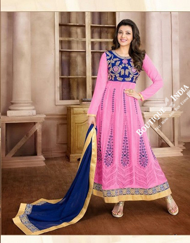 2-1 Salwar And Lehenga Heavy Work Wedding Designer Collection - Angelic Pink, Royal Blue And Golden Resplendent Unique Designer Wear Salwar Convertible Lehenga / Party Wear / Wedding / Special Occasions / Festivals- Semi Stitched, Blouse - Ready to Stitch - Boutique4India Inc.