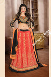 2-1 Salwar And Lehenga Heavy Work Wedding Designer Collection - Orange Shades, Black And Gold Resplendent Unique Designer Wear Salwar Convertible Lehenga / Party Wear / Wedding / Special Occasions / Festivals - Semi Stitched, Blouse - Ready to Stitch - Boutique4India Inc.