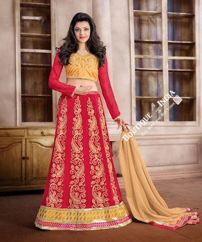 2-1 Salwar And Lehenga Heavy Work Wedding Designer Collection - Golden Pink And Red Resplendent Unique Designer Wear Salwar Convertible Lehenga / Party Wear / Wedding / Special Occasions / Festivals - Semi Stitched, Blouse - Ready to Stitch - Boutique4India Inc.