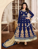 2-1 Salwar And Lehenga Heavy Work Wedding Designer Collection - Royal Blue And Golden Resplendent Unique Designer Wear Salwar Convertible Lehenga / Party Wear / Wedding / Special Occasions / Festivals - Semi Stitched, Blouse - Ready to Stitch - Boutique4India Inc.