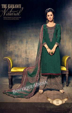 Te Papa Green Pure Jam Silk Cotton Salwar Palazoo Suit