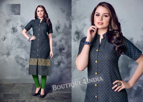 Denim winter wear desi kurti -4