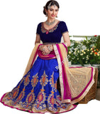 Lehenga - Attractive Heavy Work Designer Lehenga Collection - Rich Blue, Royal Blue And Pink Shade Most Beautiful 3 Piece Semi Stitched Lehenga Collection For Party / Wedding / Special Occasions - Semi Stitched, Blouse - Ready to Stitch - Boutique4India Inc.