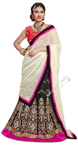 Lehenga - Attractive Heavy Work Designer Lehenga Collection - Pink, Black, Red And Golden Most Beautiful 3 Piece Semi Stitched Lehenga Collection For Party / Wedding / Special Occassions - Semi Stitched, Blouse - Ready to Stitch - Boutique4India Inc.