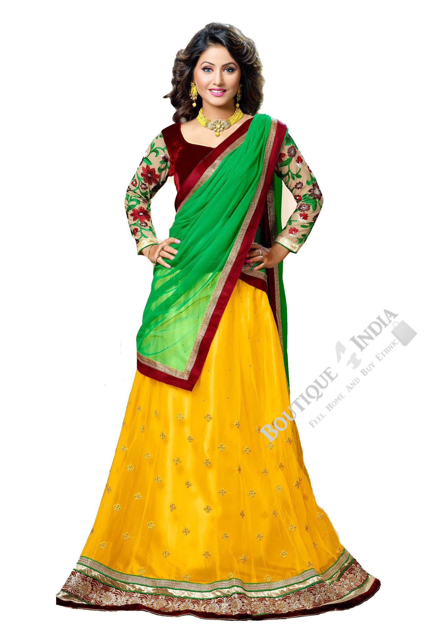 Lehengas - Attractive Heavy Work Designer Lehenga Collection - Velvet Maroon, Green, Yellow And Golden Most Beautiful 3 Piece Semi Stitched Lehenga Collection For Party / Wedding / Special Occasions - Semi Stitched, Blouse - Ready to Stitch - Boutique4India Inc.