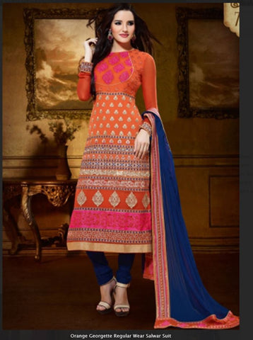 Orange Georgette party Wear Salwar Suit