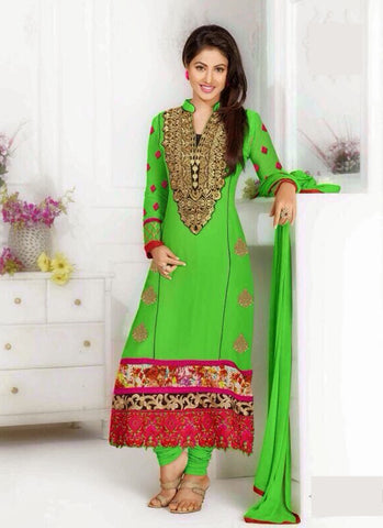 Green Georgette Casual Wear Salwar Suit