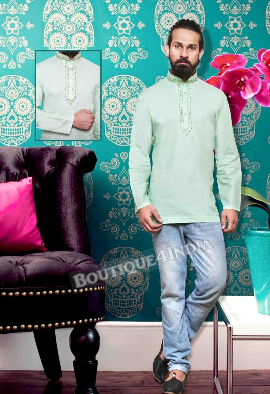 Pista green Cotton Men's Kurta