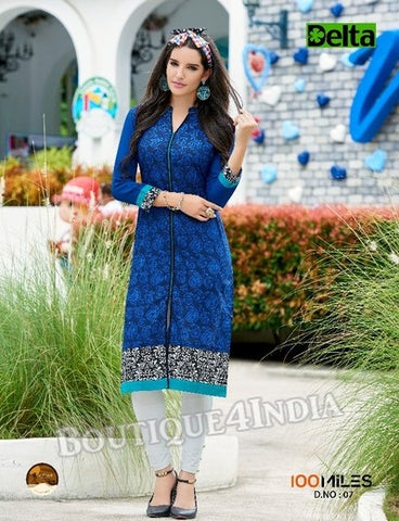 Blue Self Design and printed Cotton Kurti