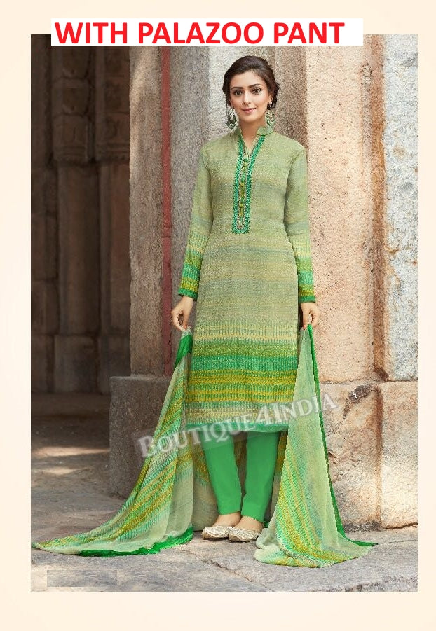 Light green Printed Pashmina Palazoo Suit