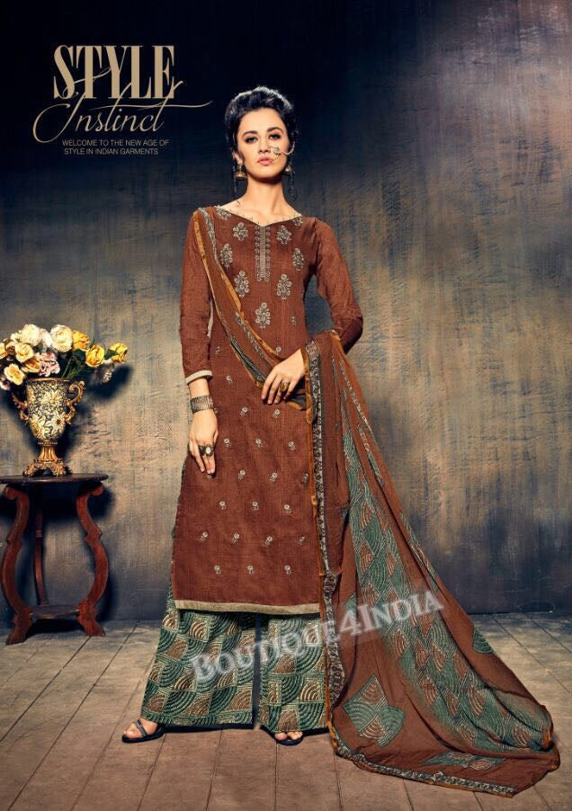 Sanguine Brown Pure Jam Silk Cotton Salwar Palazoo Suit