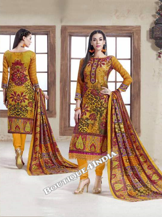 Yellow Printed Pashmina Salwar Suit