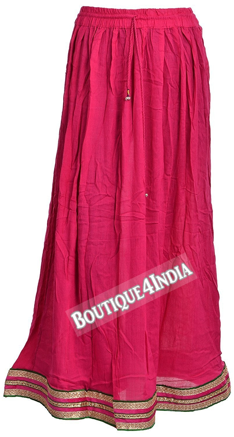 Casual Indian Pink with Zari skirt