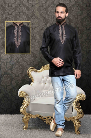 Black Silk Cotton Men's Kurta