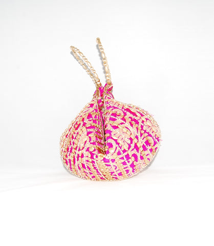 Pink Wristlet Brocade Beaded Bangle Bag Clutches