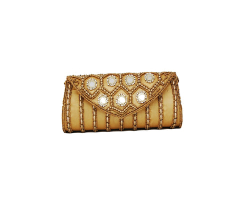 Golden color Dupion Silk Clutch Bag with beads and Stone work - Boutique4India Inc.
