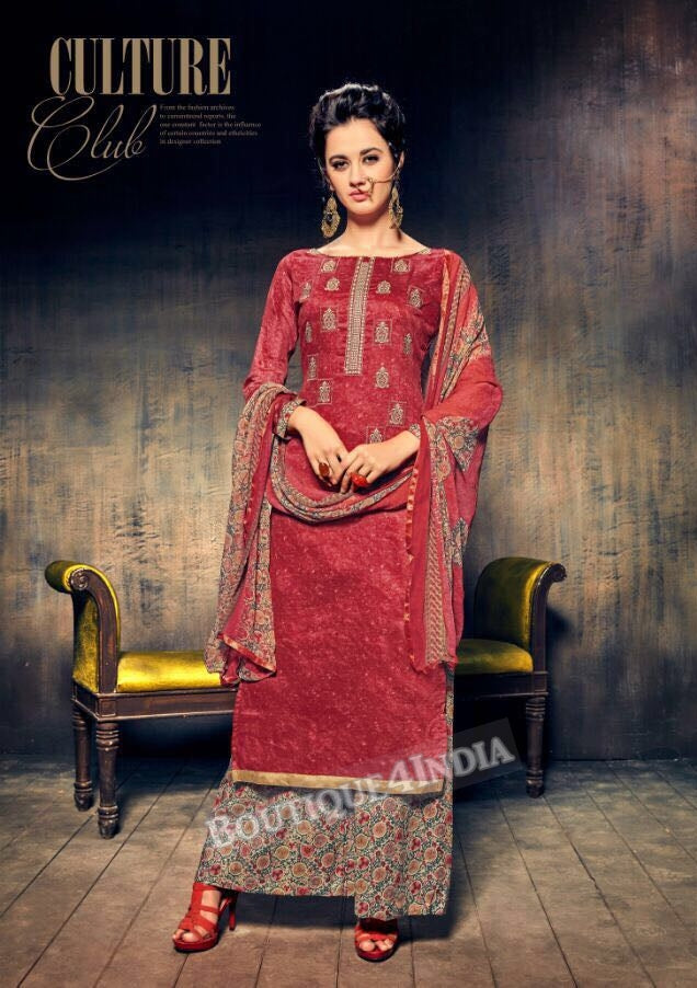 Hibiscus Pure Jam Silk Cotton Salwar Palazoo Suit