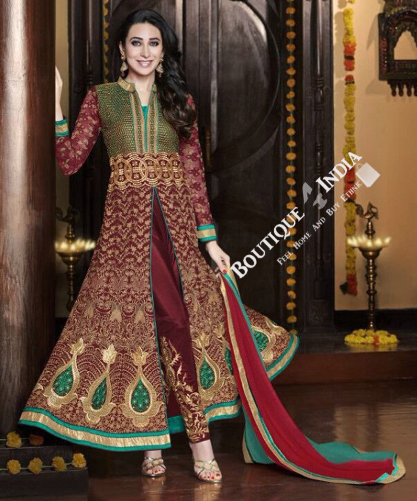 Exquisite Heavy Work Wedding Collection- Ruby Red, Turquoise And Golden Top To Bottom Rich Work Designer Wedding Stunning Collection / Party / Wedding / Festival / Special Occasion - Ready to Stitch - Boutique4India Inc.