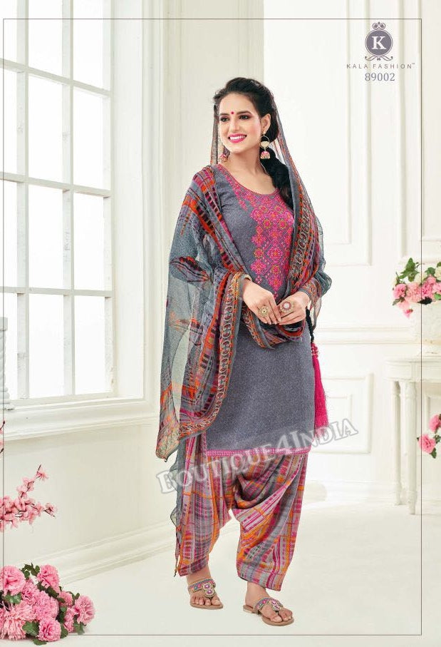 Dolphin color Pashmina self Embroidered Patiala Kameez