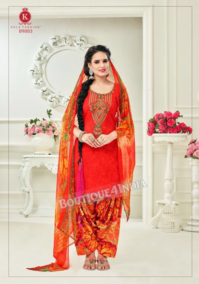 Pomegranate Pashmina self Embroidered Patiala Kameez