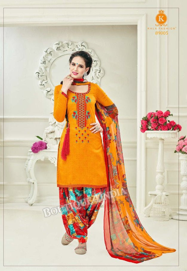Tangerine Pashmina self Embroidered Patiala Kameez