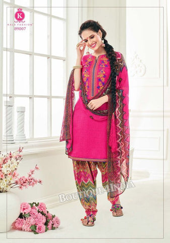 Amaranth Pashmina self Embroidered Patiala Kameez