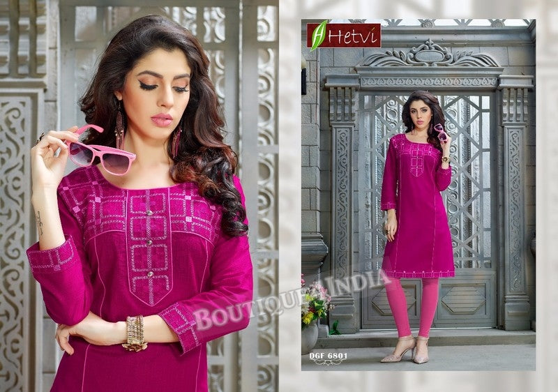 Magenta Cotton 3/4 sleeves Slub Kurti