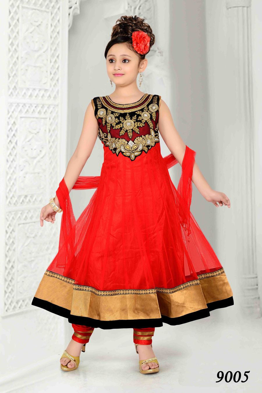 Girl's - Red, Black And Golden Jarri Salwar Suit - Gilr's Party And Wedding Collection Salwar Suits For Special Occasions - Boutique4India Inc.