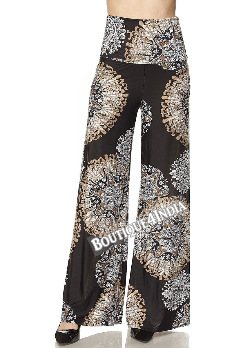 Black and Mocha Floral Printed High Waist Palazzo Pant