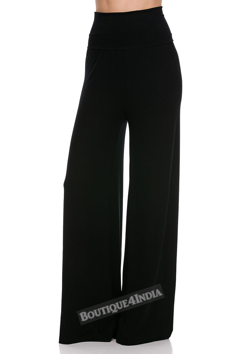 Solid Black Modal High Waist Palazzo Pant