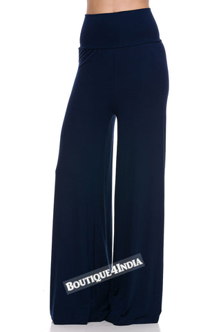 Solid Navy Modal High Waist Palazzo Pant