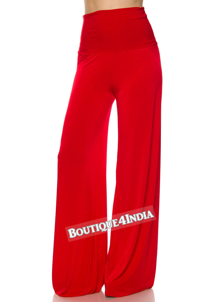 Solid Red Plus size Modal High Waist Palazzo Pant