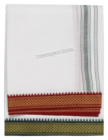 Leader Cotton white Dhoti. Double pate