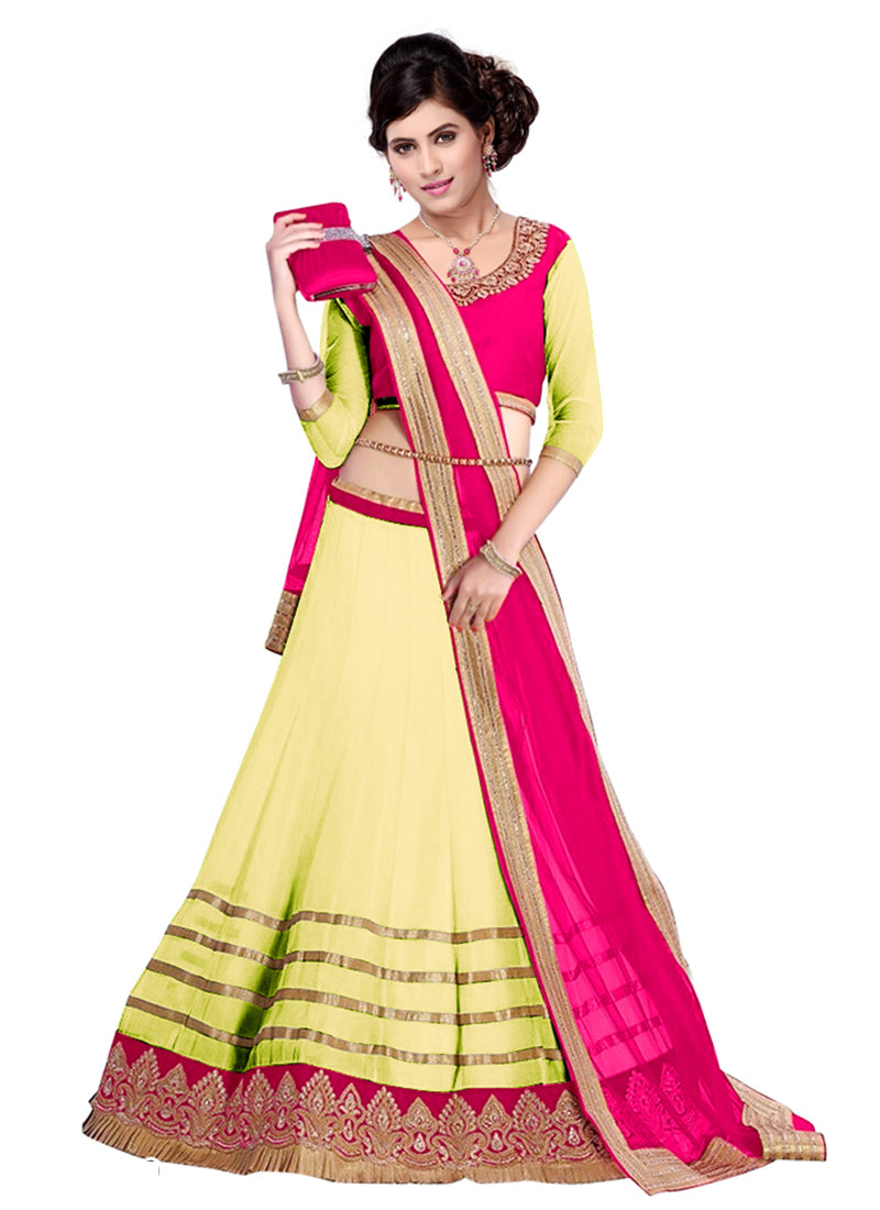 Yellow georgette festival wear lehenga