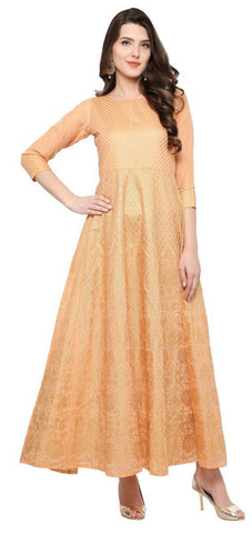 Orange Polyester Anarkali Foil Print Kurti