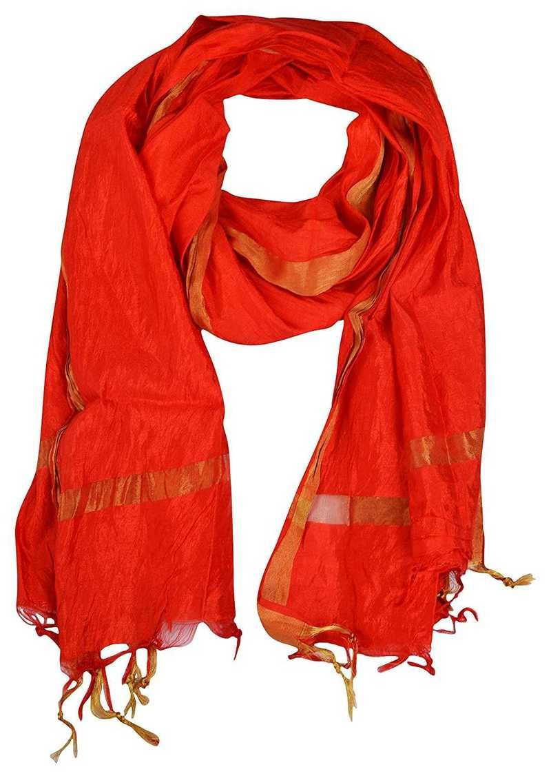 Red Banarasi Silk Hand Block Printed Dupatta