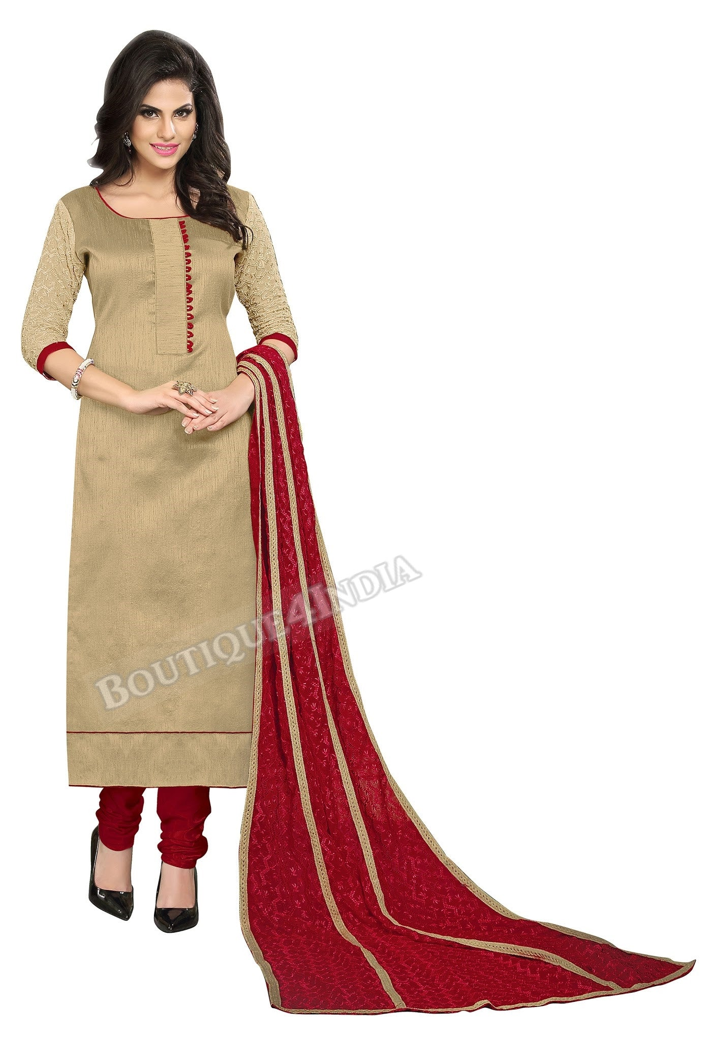 Beige and Maroon Color Chanderi Embroidered Straight Cut Salwar Suit